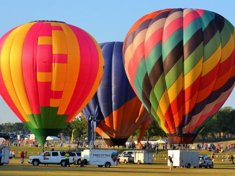 Colorful balloons ready to launch at Plano Balloon Festival
