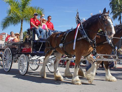 Un paseo en carruaje tirado por caballos durante el Edison Festival of Lights
